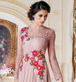 LOVELY PINK COLOR NET MATERIAL GOWN TO WEAR AT SPECIAL OCASSIONS SHOWCASE YOUR TRUE BEAUTY BY WEARING THIS LOVELY GOWN ENRICHED WITH BRASSO FABRIC ON NECK, BACK AND SLEEVES. SUPERB FLORAL WORK EMBROIDERY INCREASES THE APPEARANCE OF THE
