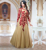 EVER STYLISH GOWN FOR INDIAN WEDDING CEREMONIES SUPERB DESIGN BEIGE COLOR NET FABRIC DESIGNER GOWN