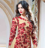 SUPERB DESIGN BEIGE COLOR NET FABRIC DESIGNER GOWN MAKE YOUR SELF GORGEOUS WITH THIS GOWN,THIS BEIGE GOWN IN RED COLOR FLORAL EMBROIDERY & MOTTI WORK AT SLEEVES WHICH MAKES YOU STYLISH AND BEUTIFULL