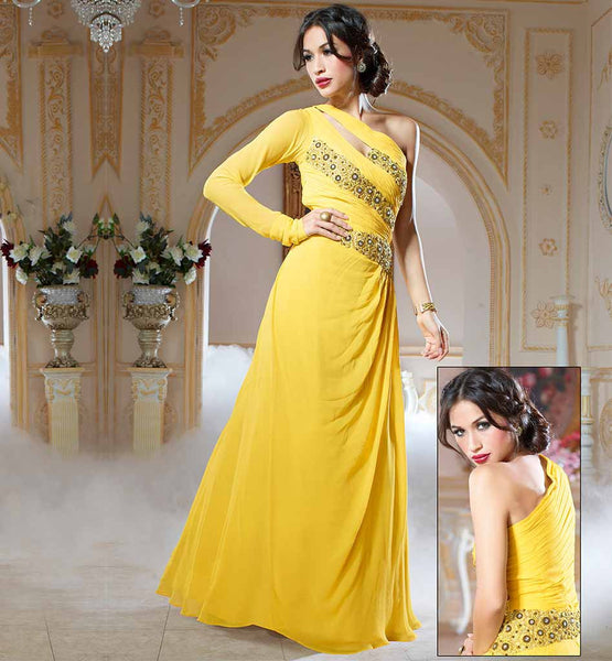 TRENDY DESING GOWN FOR FASHION LOVING LADIES  YELLOW COLOR PURE GEORGETTE MATERIAL EVER STYLISH GOWN