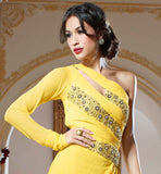 YELLOW COLOR PURE GEORGETTE MATERIAL EVER STYLISH GOWN THIS YELLOW COLOR DESIGNER WEDDING GOWN  WORKED IN  HEAVY STITCH FLORAL EMBROIDERY K NECK LINE WHICH LOOKS YOU A CHARM. AND TRENDY