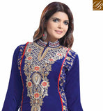 EVERSTYLISH DESIGNER VELVET STRAIGHT CUT SALWAR KAMEEZ DESIGN BLUE