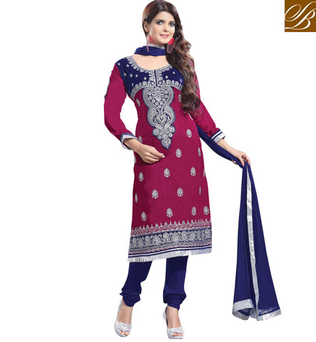 EVERSTYLISH DESIGNER VELVET STRAIGHT CUT SALWAR KAMEEZ DESIGN DARK PINK RANI