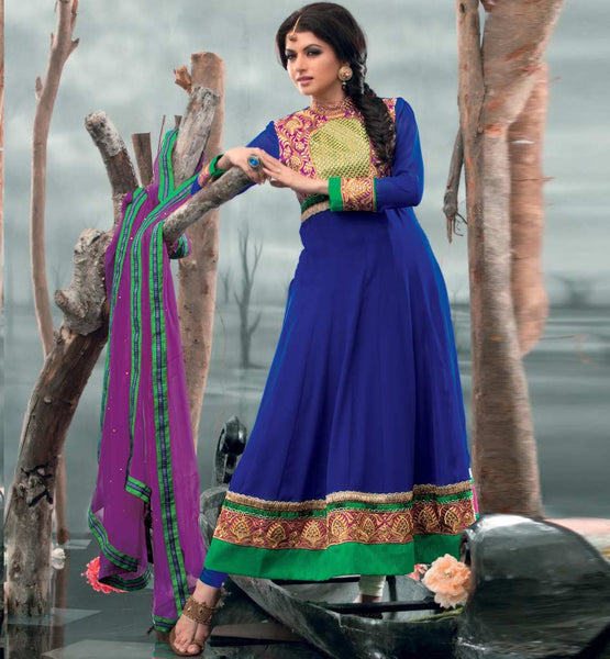 Bhagyashree in Blue Anarkali salwar kameez dress.
