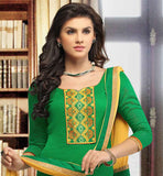 GREEN BANARASI CHANDERI TOP WITH YELLOW SALWAR & DUPATTA