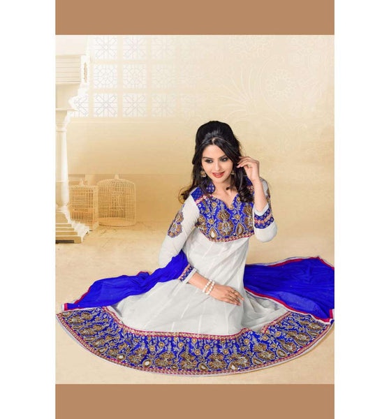 OUTSTANDING OFF-WHITE COTTON ANARKALI SALWAR SUIT RTAL9