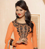 OUT STANDING ORANGE DRESS WITH HEAVY NECK DESIGN & BACK LOOK