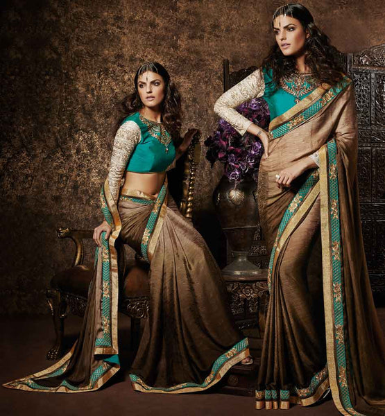 SHADED JACQUARD PALLU LATEST FASHION SAREE EMBROIDERED BLOUSE DESIGN