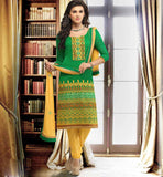 WOMEN OFFICE WEAR BANARASI CHANDERI SALWAR KAMEEZ DUPATTA SUIT SET