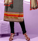 Black printed cotton salwar kameez dress material