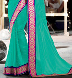 PARTY WEAR SAREES ONLINE SHOPPING IN INDIA WITH BLOUSE STYLISH BAZAAR GREEN GEORGETTE