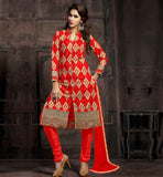COTTON SALWAR DESIGNS WITH SHERWANI STYLE KAMEEZ RED COLOR PURE COTTON FABRIC WITH RICH EMBROIDERY WORK, MATCHING SALWAR AND NAZNEEN DUPATTA
