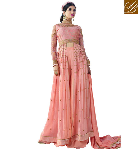 STYLISH BAZAAR BE STYLISH WITH STYLISH BAZAAR HAVING CUTEST PEACH GEORGETTE PARTY WEAR SLIT CUT ANARKALI SUIT AAFR10701