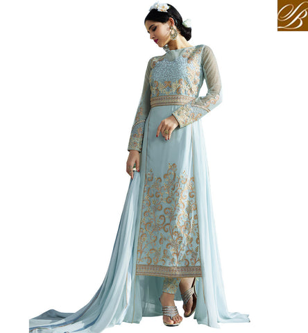 STYLISH BAZAAR GRAB THIS PARTY WEAR SKY BLUE GEORGETTE DESIGNER STRAIGHT CUT EMBROIDERED SALWAR SUIT AAFR10702