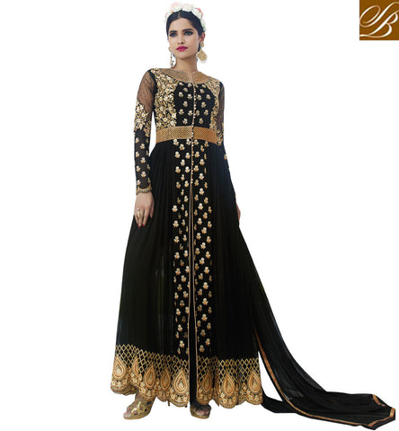 STYLISH BAZAAR LIKEABLE BLACK GEORGETTE HAVING PLEASANT GLANCE WITH THIS PARTY WEAR ANARKALI SUIT AAFR10703