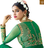FASCINATING GREEN GEORGETTE WITH HEAVY EMBROIDERY ON CHEST PARTY WEAR ANARKALI SUIT AAFR10704