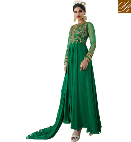 STYLISH BAZAAR FASCINATING GREEN GEORGETTE WITH HEAVY EMBROIDERY ON CHEST PARTY WEAR ANARKALI SUIT AAFR10704
