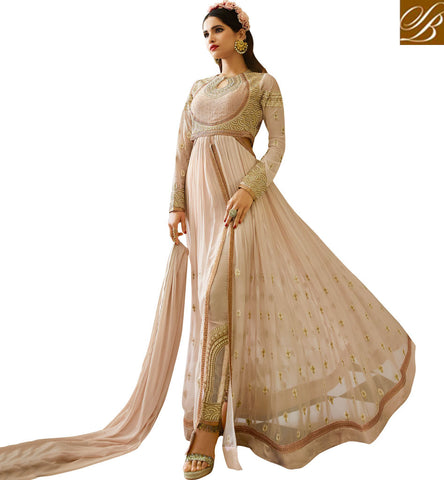 STYLISH BAZAAR LOVABLE PEACH GEORGETTE PARTY WEAR ANARKALI SUIT WITH MODERN EMBROIDERY ON CHEST N SLEEVES AAFR10705