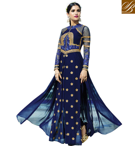 STYLISH BAZAAR MAGNETIC NAVY BLUE GEORGETTE HAVING BEAUTIFUL EMBROIDERY PARTY WEAR WITH MAGNANIMOUS LOOK AAFR10706