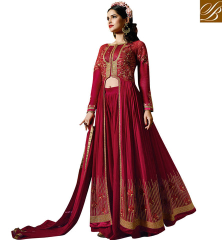 STYLISH BAZAAR SMASHING MAROON HEAVILY EMBROIDERED GEORGETTE WITH THIS SLIT CUT PARTY WEAR SUIT AAFR10708