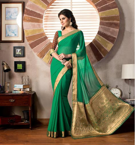 Green Party wear Sari online shopping