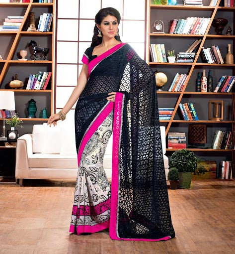BLACK & OFFWHITE ALIA BHATT'S MOVIE 2STATES INSPIRED SAREE COLLECTION