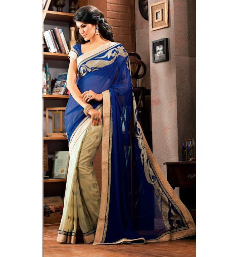 DESIGNER BLUE & CREAM ALIA BHATT'S MOVIE 2STATES INSPIRED SAREE