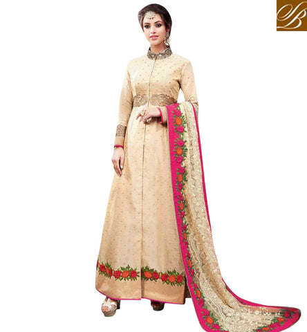 STYLISH BAZAAR BEAUTIFUL CREAM SILK WELL DESIGNED MAGNANIMOUS LOOK PARTY WEAR ANARKALI SUIT ANKSR5905