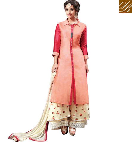 STYLISH BAZAAR WONDERFUL PEACH GLESS COTTON STRAIGHT CUT PLAZZO STYLE PRINTED SALWAR KAMEEZ ANKSR5906