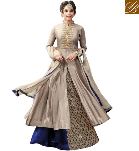 STYLISH BAZAAR ENTICING BEIGE GLESS COTTON AND BLUE BANGALORI SILK HAVING SLIT CUT LEHENGA STYLE SUIT ANKSR5908