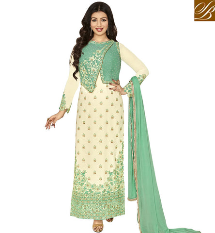STYLISH BAZAAR BOLLYWOOD ACTRESS AYESHA TAKIA CREAM GEORGETTE PARTY WEAR STRAIGHT CUT EMBROIDERED SUIT ANZN1145