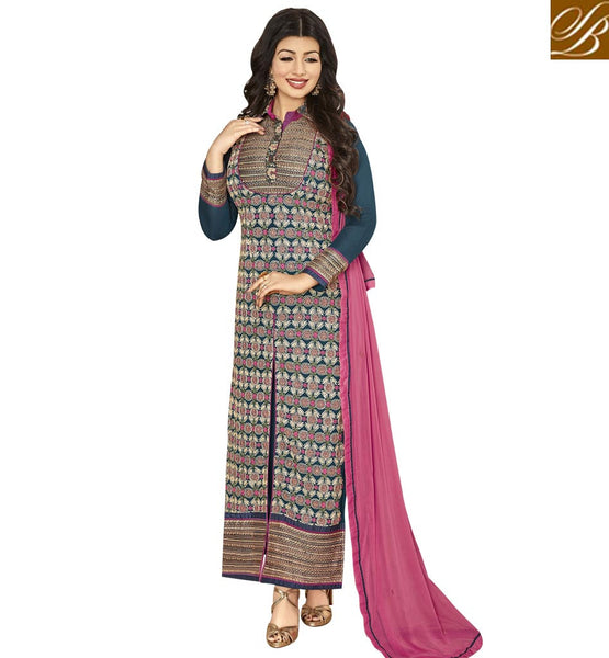 STYLISH BAZAAR BLUE GEORGETTE HAVING ENCHANTING EMBROIDERY PARTY WEAR AYESHA TAKIA STRAIGHT CUT SUIT ANZN1146