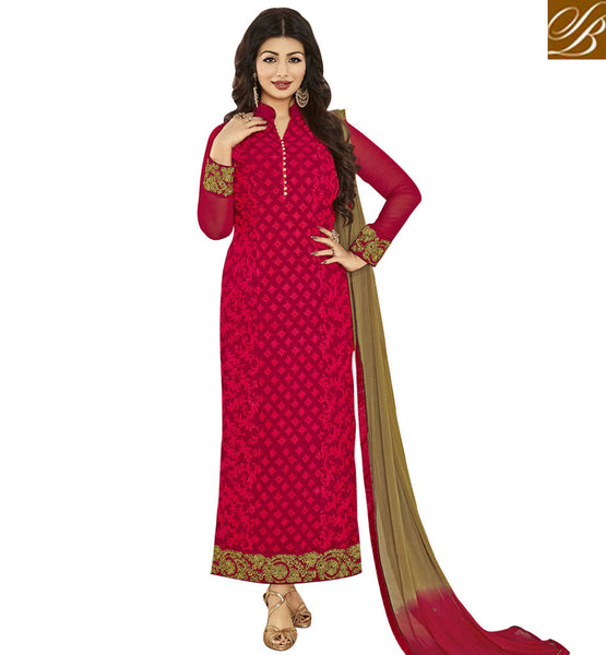 STYLISH BAZAAR BOLLYWOOD CELEBRITY AYESHA TAKIA LONG RED STRAIGHT CUT EMBROIDERED PARTY WEAR SUIT ANZN1147