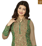 STYLISH BAZAAR PRESENTATION SHOP AYESHA TAKIA STRAIGHT CUT PARTY WEAR GREEN EMBROIDERED SUIT FROM STYLISH BAZAAR ANZN1148