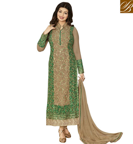 STYLISH BAZAAR SHOP AYESHA TAKIA STRAIGHT CUT PARTY WEAR GREEN EMBROIDERED SUIT FROM STYLISH BAZAAR ANZN1148