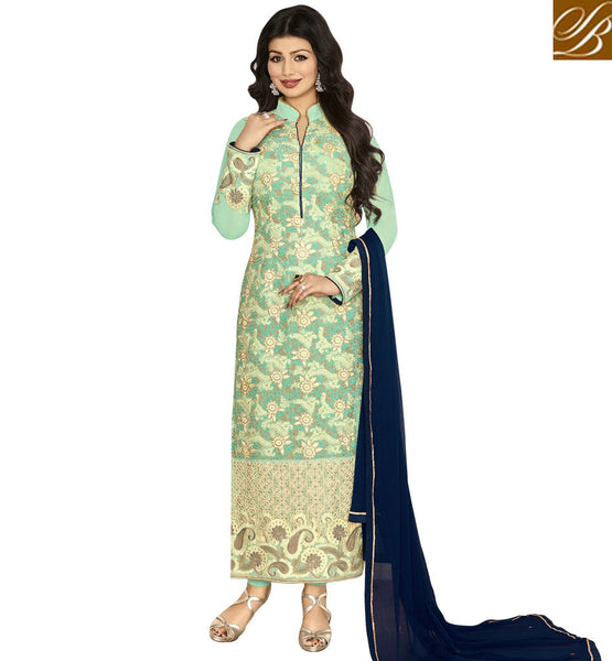 STYLISH BAZAAR WONDERFUL SEA GREEN EMBROIDERED GEORGETTE AYESHA TAKIA STRAIGHT CUT PARTY WEAR SUIT ANZN1149