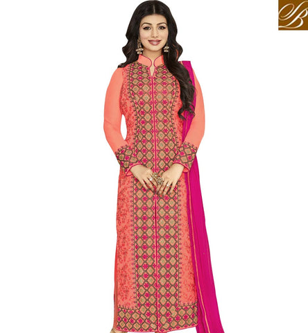 STYLISH BAZAAR BOLLYWOOD ACTRESS AYESHA TAKIA LONG PAKISTANI STYLE STRAIGHT CUT DESIGNER SALWAR SUIT ANZN1150