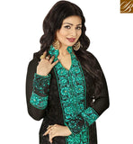 FROM THE HOUSE OF STYLISH BAZAAR ELEGANT BLACK GEORGETTE PAKISTANI STRAIGHT CUT AYESHA TAKIA HYNECK STYLE SUIT ANZN1152