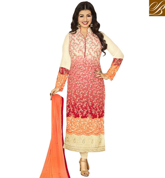 STYLISH BAZAAR BOLLYWOOD ACTRESS AYESHA TAKIA MULTICOLOUR STRAIGHT CUT HYNECK STYLE PARTY WEAR DRESS ANZN1153