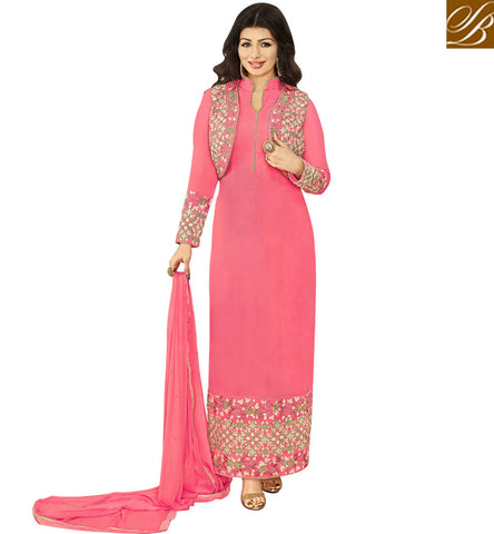 STYLISH BAZAAR INVITING PINK HYNECK STYLE AYESHA TAKIA STRAIGHT CUT PAKISTANI PARTY WEAR JACKET STYLE SUIT ANZN1154