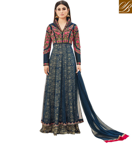 STYLISH BAZAAR Buy mouni roy hot Indian rosette gown dress for women online shopping AR18001