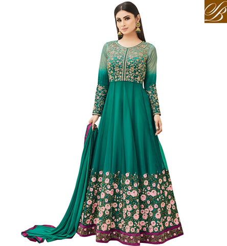 STYLISH BAZAAR Shop Mouni roy marriage and eid specal green Indian ladies online gown AR18002