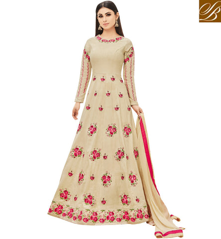 STYLISH BAZAAR Latest Mouni roy beige u neckline rosette Bollywood female gown online AR18003