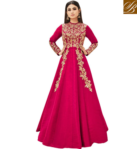 STYLISH BAZAAR Mouni roy Naagin fame in latest dark pink crew neckl celeb gown online AR18004