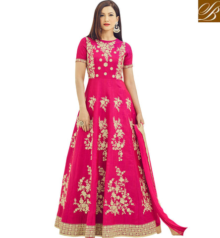 STYLISH BAZAAR Buy dark pink rosette Gauhar Khan designer gown  for women in US & UK AR18013