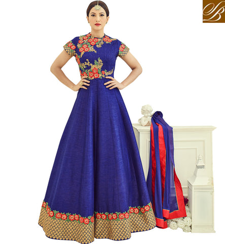 STYLISH BAZAAR Shop navy blue Gauhar Khan designer half sleeve eid and wedding gown AR18014