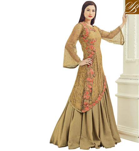 STYLISH BAZAAR Shop gauhar khan beige traditional unique cut lehenga kameez for women AR18015