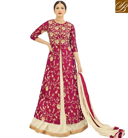 STYLISH BAZAAR Latest dark pink mid slit long kameez lehenga Gauhar Khan ethnic gown AR18017