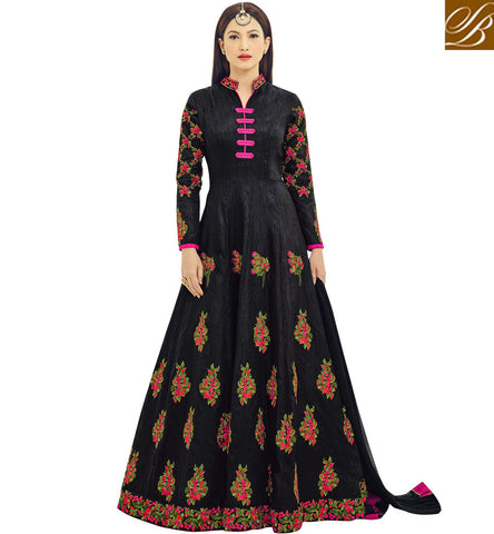STYLISH BAZAAR Shop new collar neck black knee length gown Gauhar Khan latest design AR18018