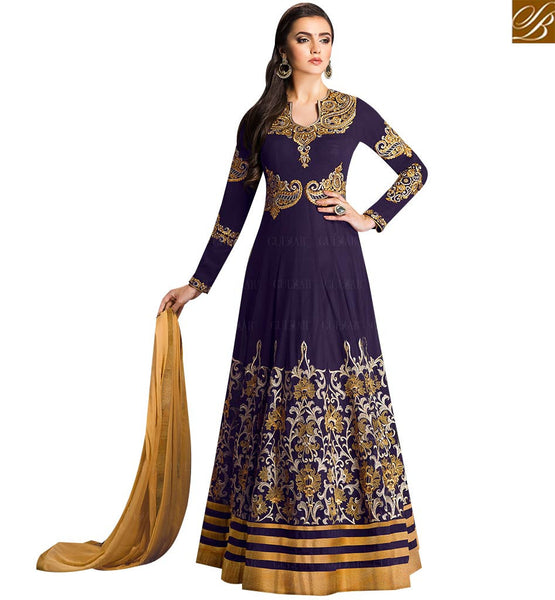 STYLISH BAZAAR BEAUTIFUL BLUE GEORGETTE DESIGNER ANARKALI SALWAR KAMEEZ HAVING SUPERB EMBROIDERY GLZR1701